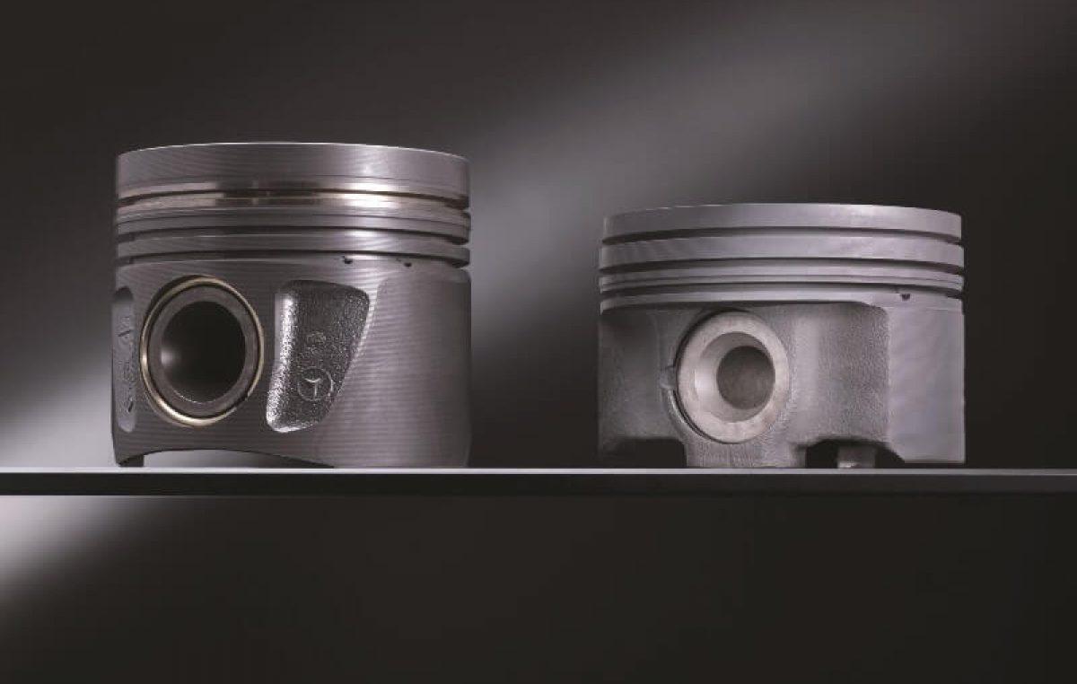 Tα καινοτόμα πιστόνια χάλυβα της Mercedes-Benz συμβάλλουν στην οικονομία καυσίμου.